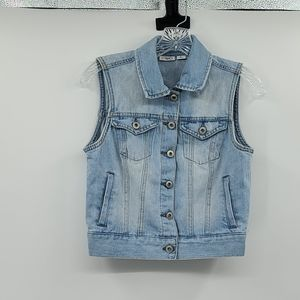 Cato light wash jean vest. Size small